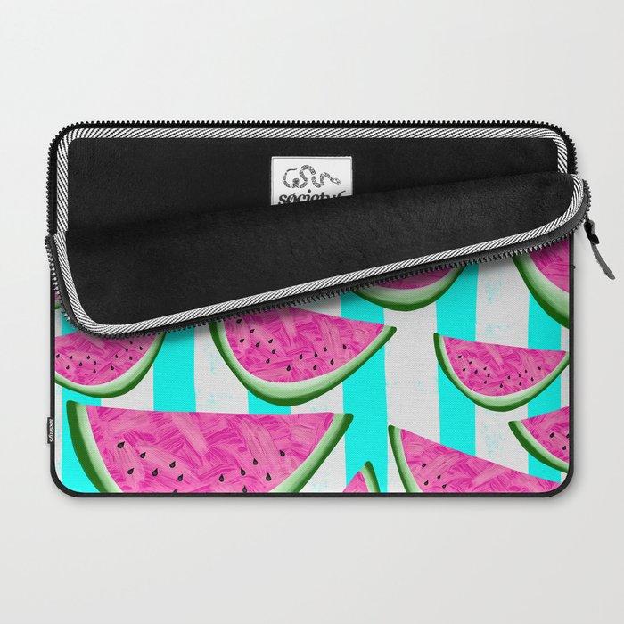 Watermelon Crush on Aqua and White Stripes Laptop Sleeve