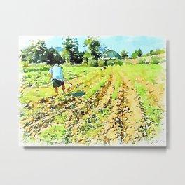 Hortus Conclusus: farmer at work in the potato field Metal Print