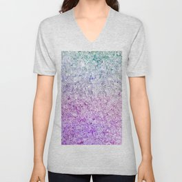 Frozen, close up photograph of snow and ice Unisex V-Neck