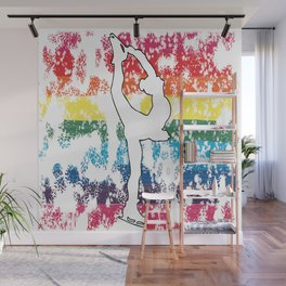 Figure Skating Silhouette on a Rainbow Pride Graphic Background Wall Mural