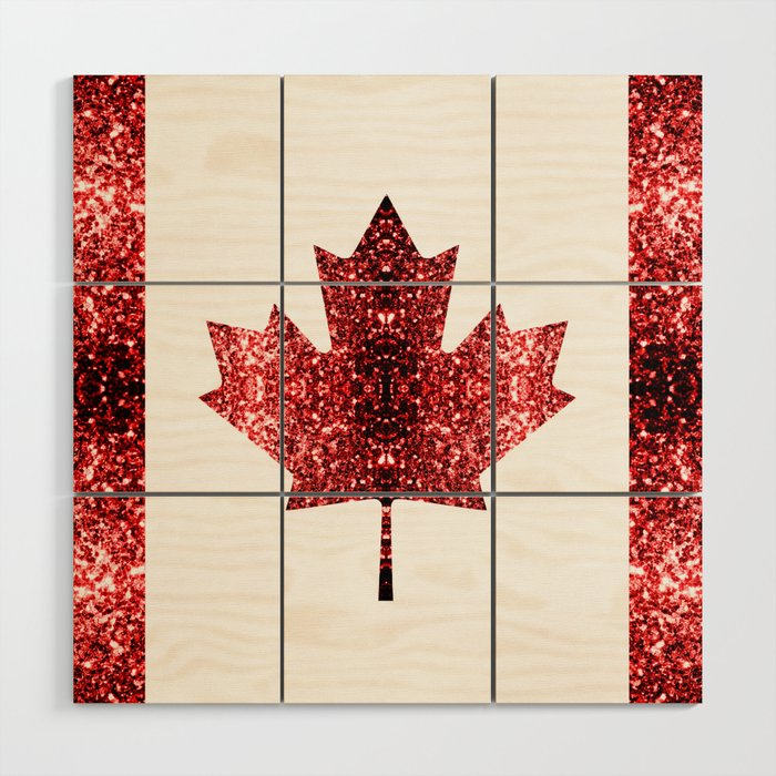 Canada Flag Red Sparkles Wood Wall Art By Pldesign