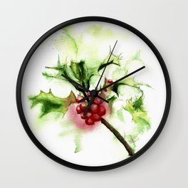 Holly Sprig, December Mist Wall Clock