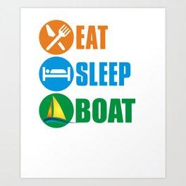 Eat sleep boatd repeat2 Art Print