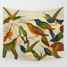 Translate Album de aves amazonicas - Emil August Göldi - 1900 Colorful Hummingbirds Wall Tapestry