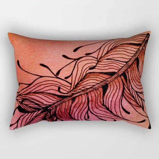 Doodled Autumn Feather 01 Rectangular Pillow