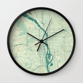 Portland Map Blue Vintage Wall Clock