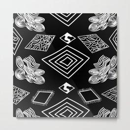 Black and White Diamonds Metal Print