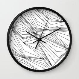 Zig Zag Lines Black Wall Clock
