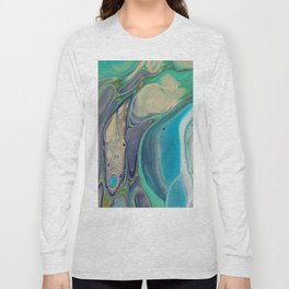 Fluid Abstract - Blue and Purple Long Sleeve T-shirt