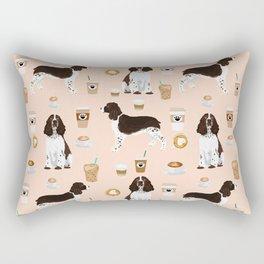 English Springer Spaniel coffee lover dog breed pet portraits custom dog gifts Rectangular Pillow