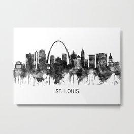 St. Louis Missouri Skyline BW Metal Print