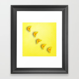 Butterflies on buttercup yellow chevron pattern Framed Art Print