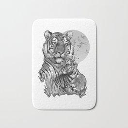 Tiger with Cub (B/W) Bath Mat
