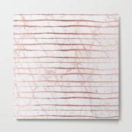 Stylish rose gold glitter stripes white marble pattern Metal Print