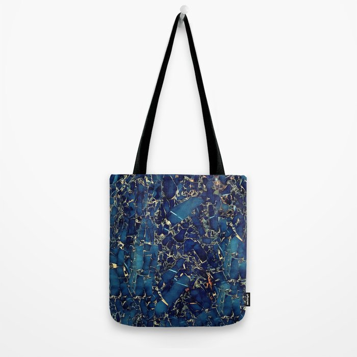 Dark blue stone marble abstract texture with gold streaks Tote Bag
