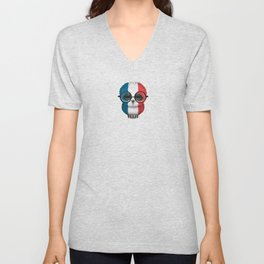 Baby Owl with Glasses and French Flag Unisex V-Neck
