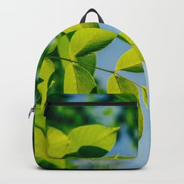 Fresh Green Tree Leaves In Summer, Tree Leaf, Intense Vivid Green, Nature In Summer, Ecology Friend Backpack