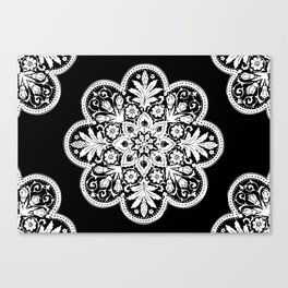 Floral Doily Pattern | Black and White Canvas Print