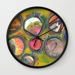 Hand painted pomegranate collage 5/7 Wall Clock