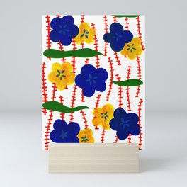 Blue and Yellow Floral Patterns Mini Art Print