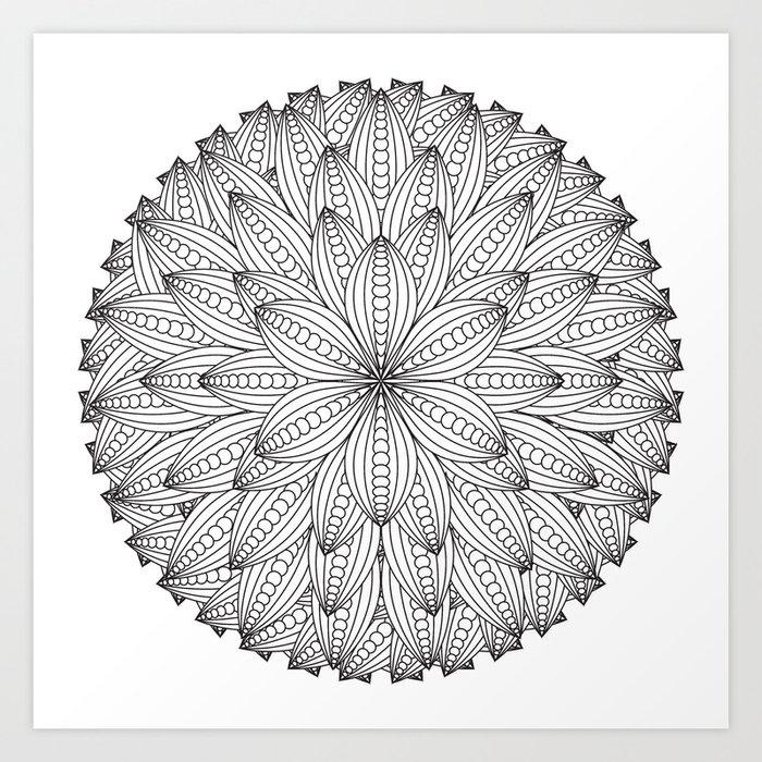 Geometric Flower Mandala - Color Your Own Art Print By Wendypiersallart  Society6
