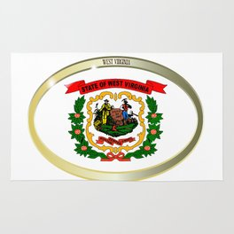 West Virginia State Flag Oval Button Rug