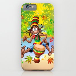 Rasta Bongo Musician funny cool character iPhone Case