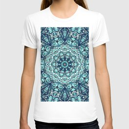 Green Blue Black Mandala  Psychedelic Pattern T-shirt