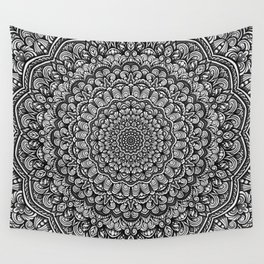 Gray colors mandala Sophisticated black and white ornament Wall Tapestry