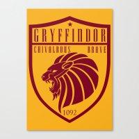 gryffindor Canvas Prints featuring Gryffindor Crest by machmigo