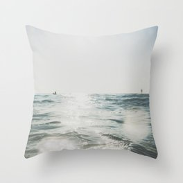 vintage style seascape with Paddle surfer, Throw Pillow