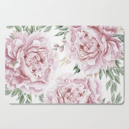 Girly Pastel Pink Roses Garden Cutting Board