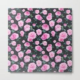 Pink Roses Flower pattern Metal Print
