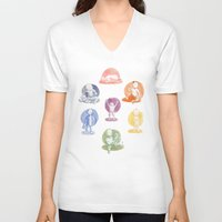 chakra V-neck T-shirts featuring Chakra Babies by Kate Solow