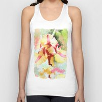 water colour Tank Tops featuring Water colour parrot tulip by thea walstra