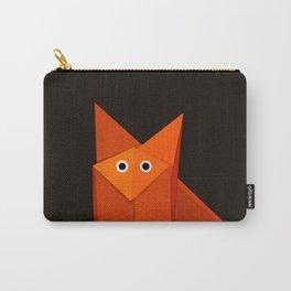 Dark Geometric Cute Origami Fox Carry-All Pouch
