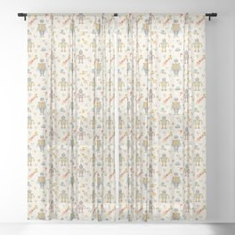 Vintage Inspired Robots in Space Sheer Curtain