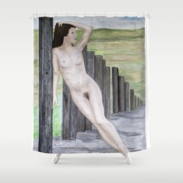 Girl Leaning Fence Post Shower Curtain