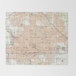Vintage Map of Phoenix Arizona (1952) Throw Blanket