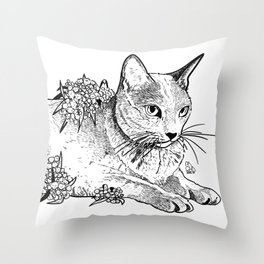 Cat and acacias Throw Pillow