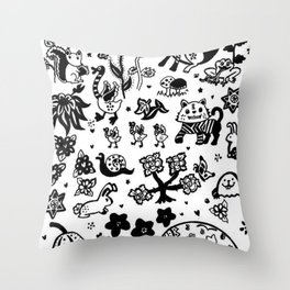 Charming Forest Creatures Throw Pillow