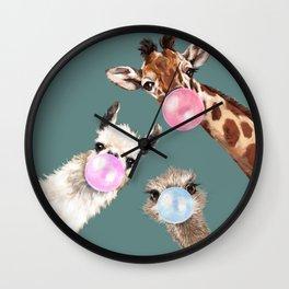 Bubble Gum Gang Dark Green Wall Clock