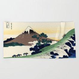 "Hokusai (1760-1849)  ""Inume Pass"" Beach Towel"