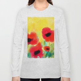 Red poppies - original design by ArtStudio29 - red flowers on yellow background Long Sleeve T-shirt