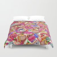 macaroon Duvet Covers featuring Sugar, Spice & All Things Nice by Perrin Le Feuvre