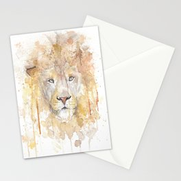 "Watercolor Painting of Picture ""African Lion"" Stationery Cards"