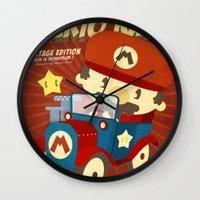 mario kart Wall Clocks featuring mario kart vintage by danvinci