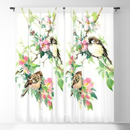 Sparrows and Apple Blossom, spring floral bird art Blackout Curtain
