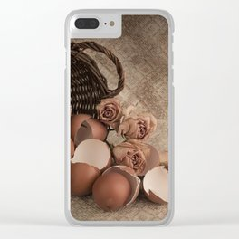 Basket with egg shells and roses Clear iPhone Case
