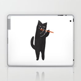 Black cat with flute Laptop & iPad Skin